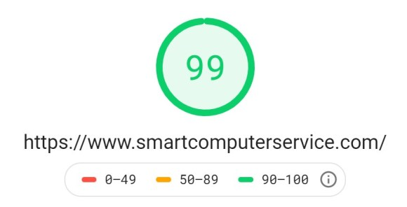 Screenshot from Google Page Speed Insights showing a very fast-performing page speed of 99/100