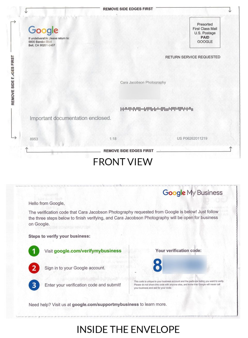 A scan of the actual envelope Google My Business (GMB) verification team will send you. Keep an eye out for this in the mail - it is received within 5 days.