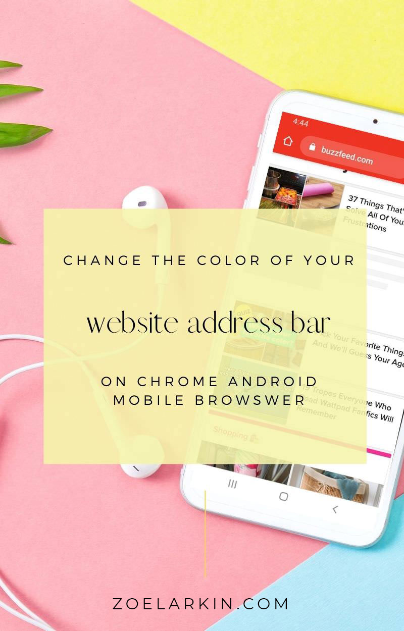 Have you ever noticed while browsing the web on your Android phone that some websites' address bars change to match with their brand colors? Well learn now how to add a custom color to your website's address bar on Google Chrome for Android! This simple tip couldn't be easier to implement and the good news is you don't need to be a WordPress wiz to make this small change that adds to a more visually cohesive and professional appearance for your brand #wordpress #websitehacks | zoelarkin.com