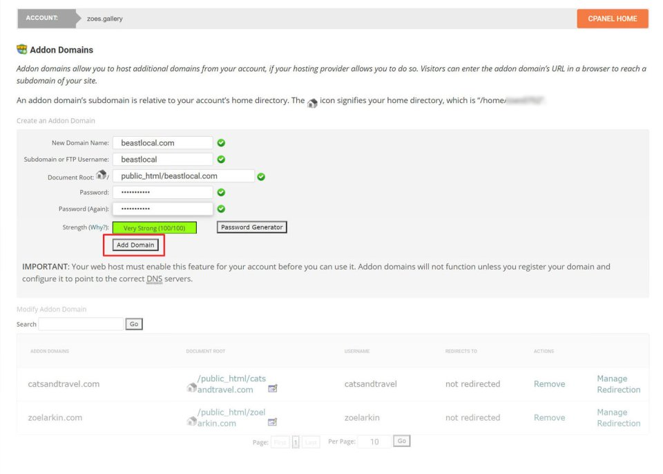 adding an add-on domain to an existing siteground account - screenshot