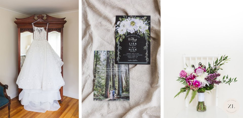 how much time to allow for your wedding details photos - a triptych of wedding details and how long it takes