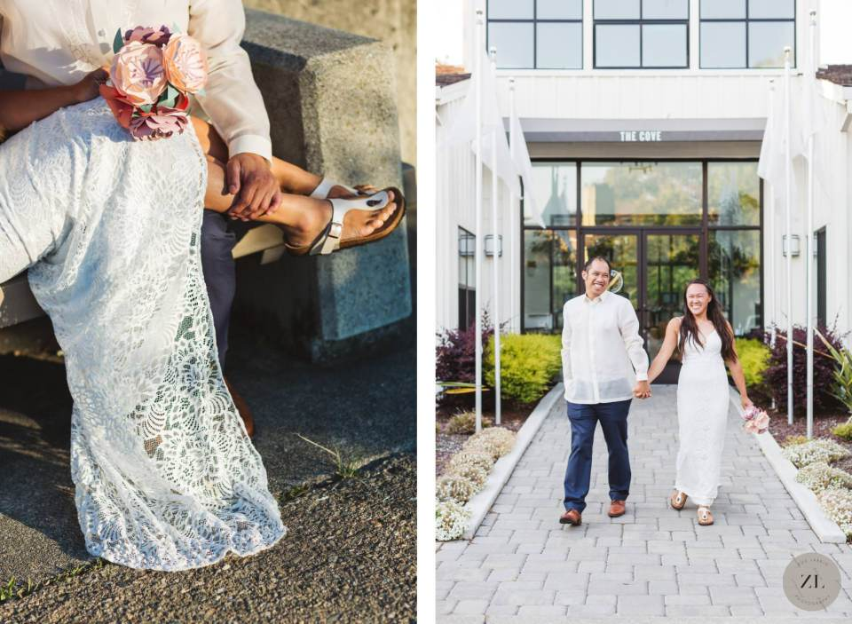 ideas for a coronavirus wedding with couple's social distancing wedding at their home in point richmond, california