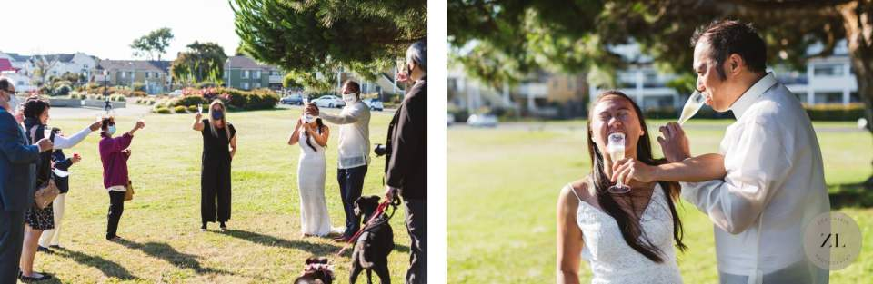 covid wedding ideas of couple cheersing with family members wearing masks