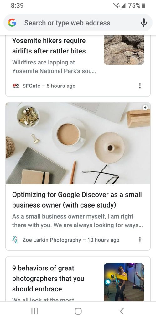 Phone screenshot showing THIS article showing up on my own Google Discover feed - showing you how to get your articles to show up on Google Discover!