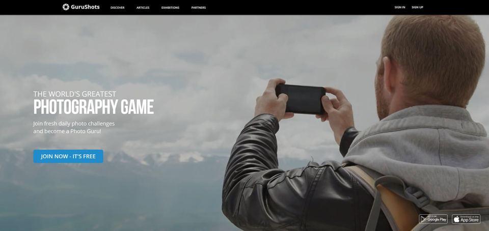 Gurushots screenshot of homepage - copyright of this image belongs to Gurushots.com