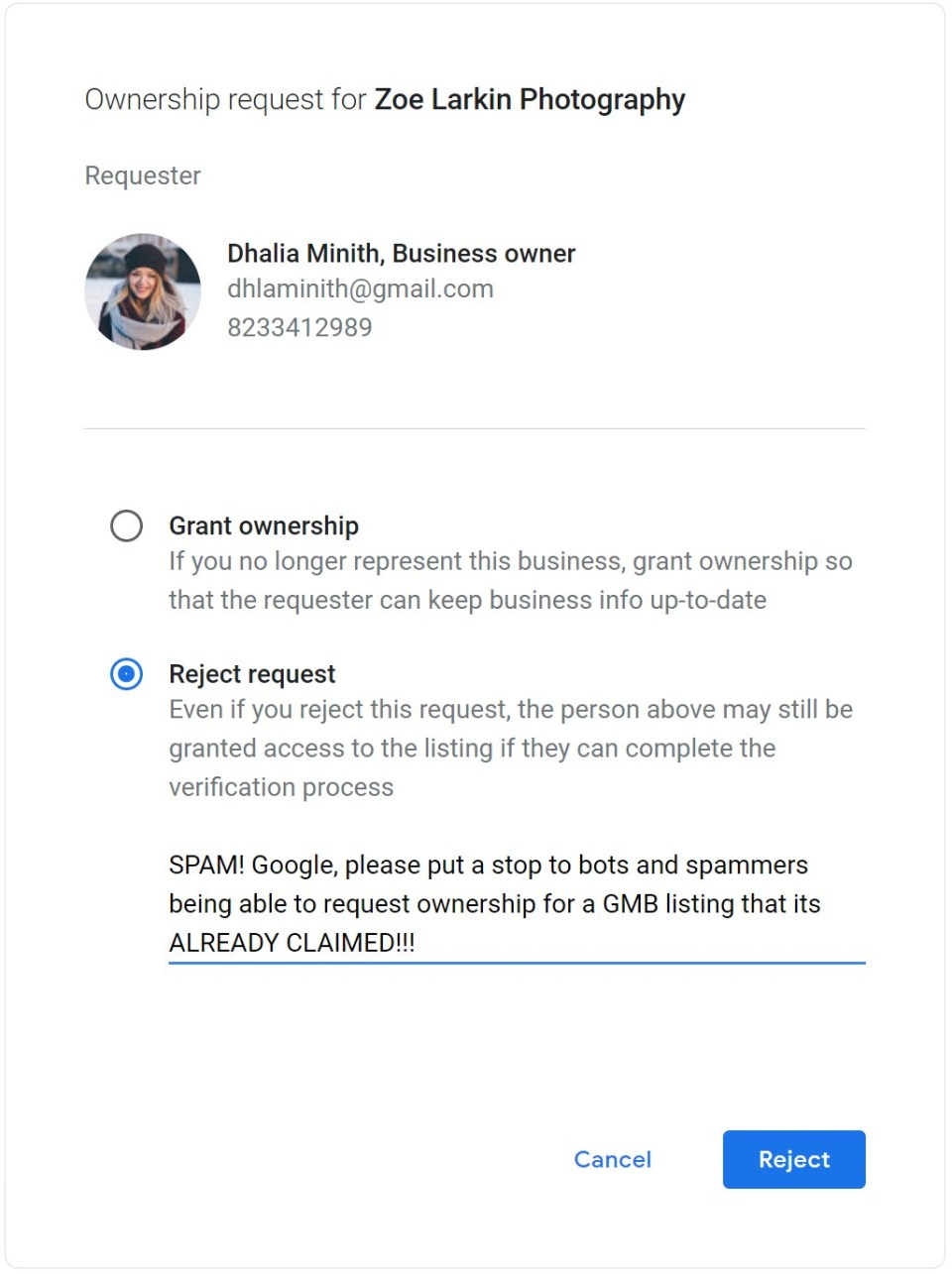 screenshot showing ownership request from a scam artist attempting to gain access to a Google My Business listing