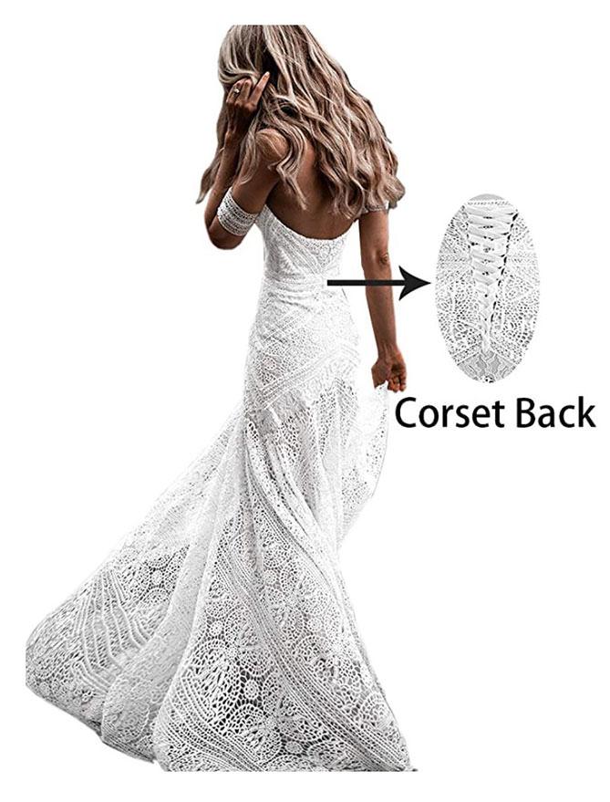 corset style boho wedding dress under $200