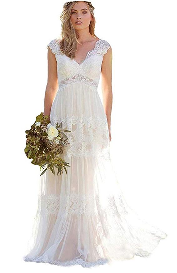 v-neck wedding dress available on Amazon