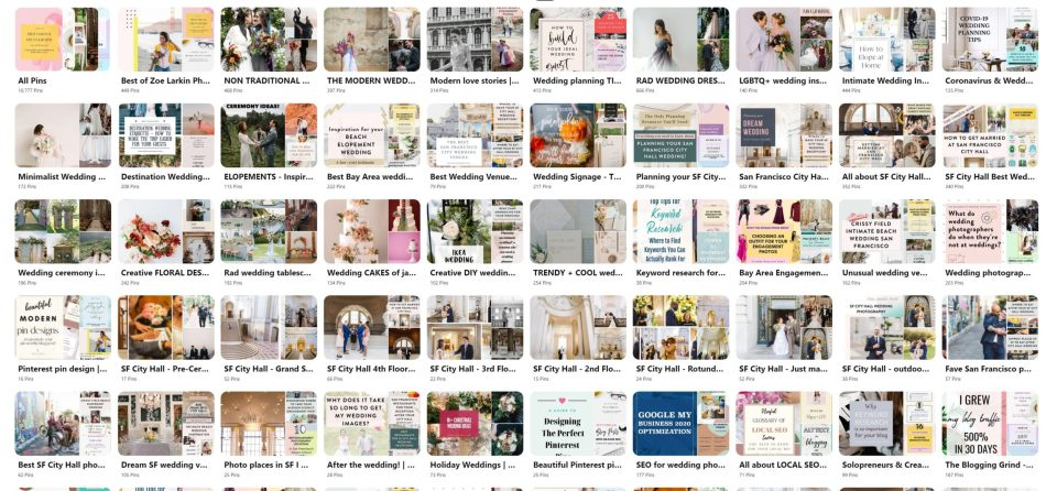 A pinterest business user's boards - as an example, I have dozens of pinterest boards for inspiration here