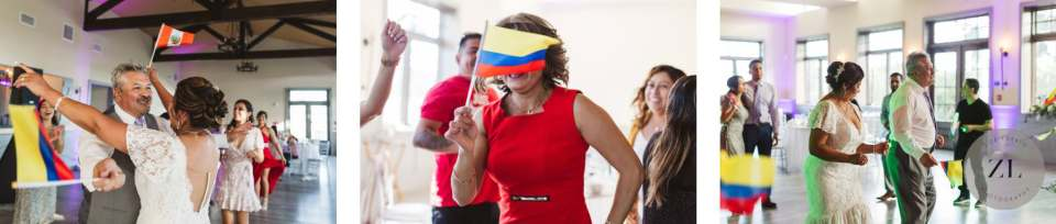 couple and their wedding guests dancing with Colombian flags at a Latino Wedding at Oceano Hotel in Half Moon Bay, California