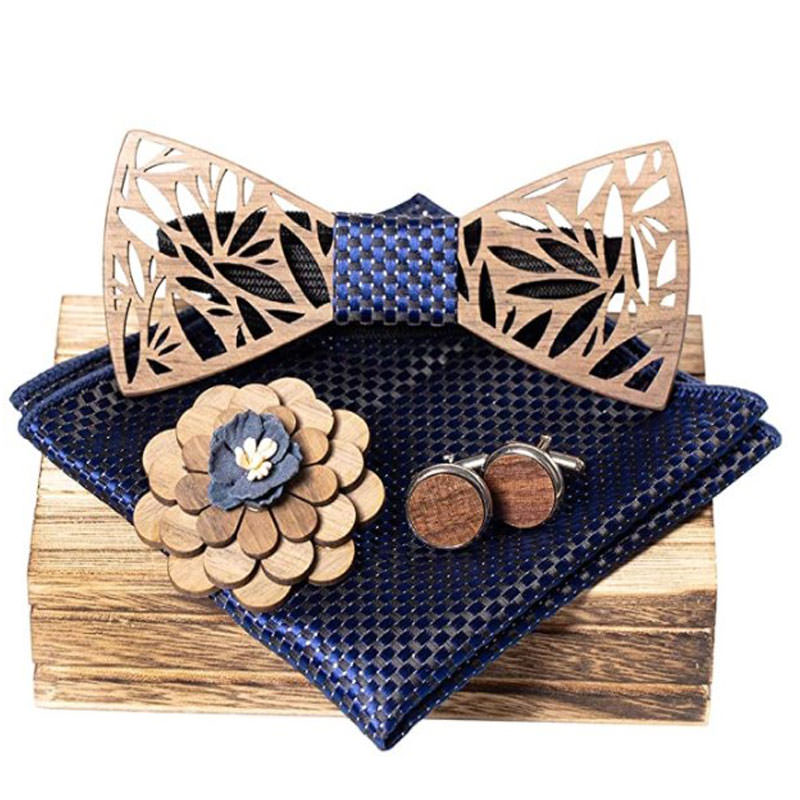 Classic Handmade Mens Wood Bow Tie perfect for guys' outfit for engagement photo session