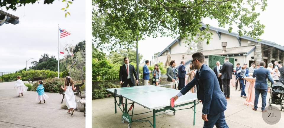 guests playing tabletop tennis at Highlands Country Club Oakland CA wedding