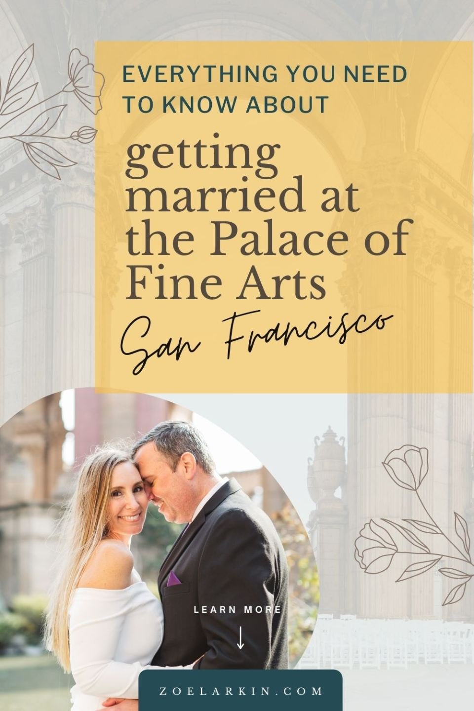 If you're considering getting married at the Palace of Fine Arts in San Francisco, this detailed guide on booking your wedding at the Palace of Fine arts is for you! Whatever kind of wedding you have planned, the Palace of Fine Arts might just be the perfect elegant, historical Bay Area wedding venue for you. Intimate wedding or something a little grander, this guide has everything you need to book your wedding at the Palace of Fine Arts, San Francisco | #sanfranciscowedding zoelarkin.com