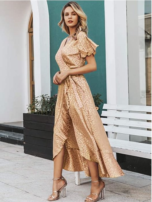 Miessial Women's Summer Chiffon V Neck Ruffle Maxi Dress for engagement photo session recommended by Zoe Larkin Photography