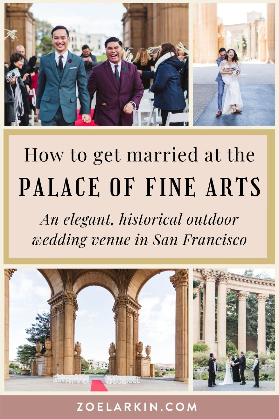 Curious about San Francisco's Palace of Fine Arts as the location for your wedding?  As a wedding photographer who has photographed many weddings, engagements and elopements at the Palace of Fine Arts, I compiled this guide to help you with more than just the photos. I have info on pricing for venue rental and whether you even need to make a booking! Check out the complete guide to how to get married in the grandeur of the Palace of Fine Arts, San Francisco | #sanfranciscowedding zoelarkin.com