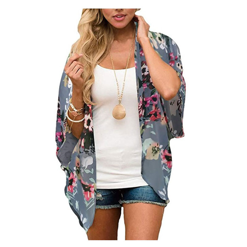 attire and accessories for an engagement photography shoot - Women's Floral Print Puff Sleeve Kimono Cardigan