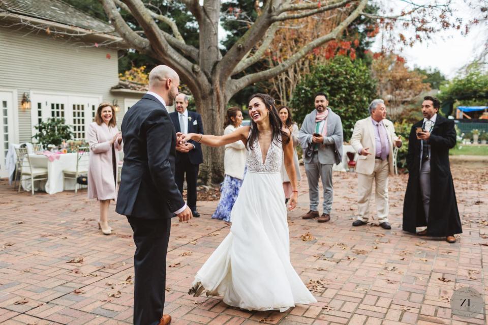 beautiful first dance photos at diana and rodrigo's Gamble Garden wedding
