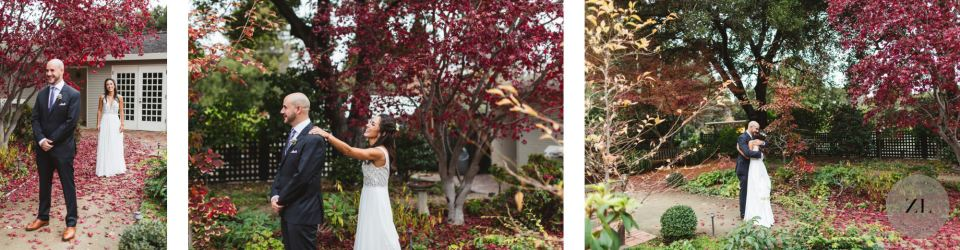 first look in elizabeth f gamble garden wedding with bright red tree foliage