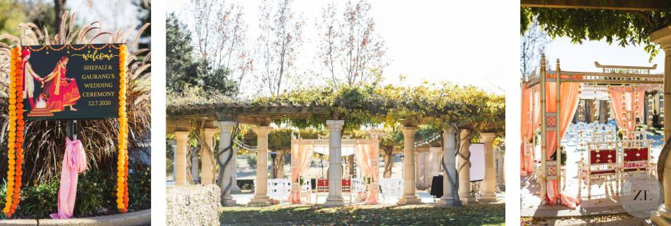 indian ceremony wedding setup at The Club at Ruby Hill by Zoe Larkin Photography