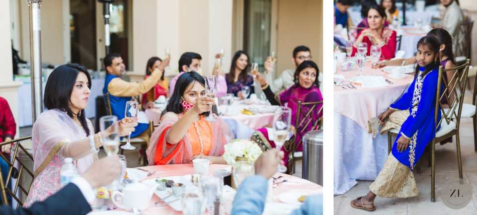 candid photos by  Zoe Larkin Photography of guests cheersing at the club at ruby hill, pleasanton