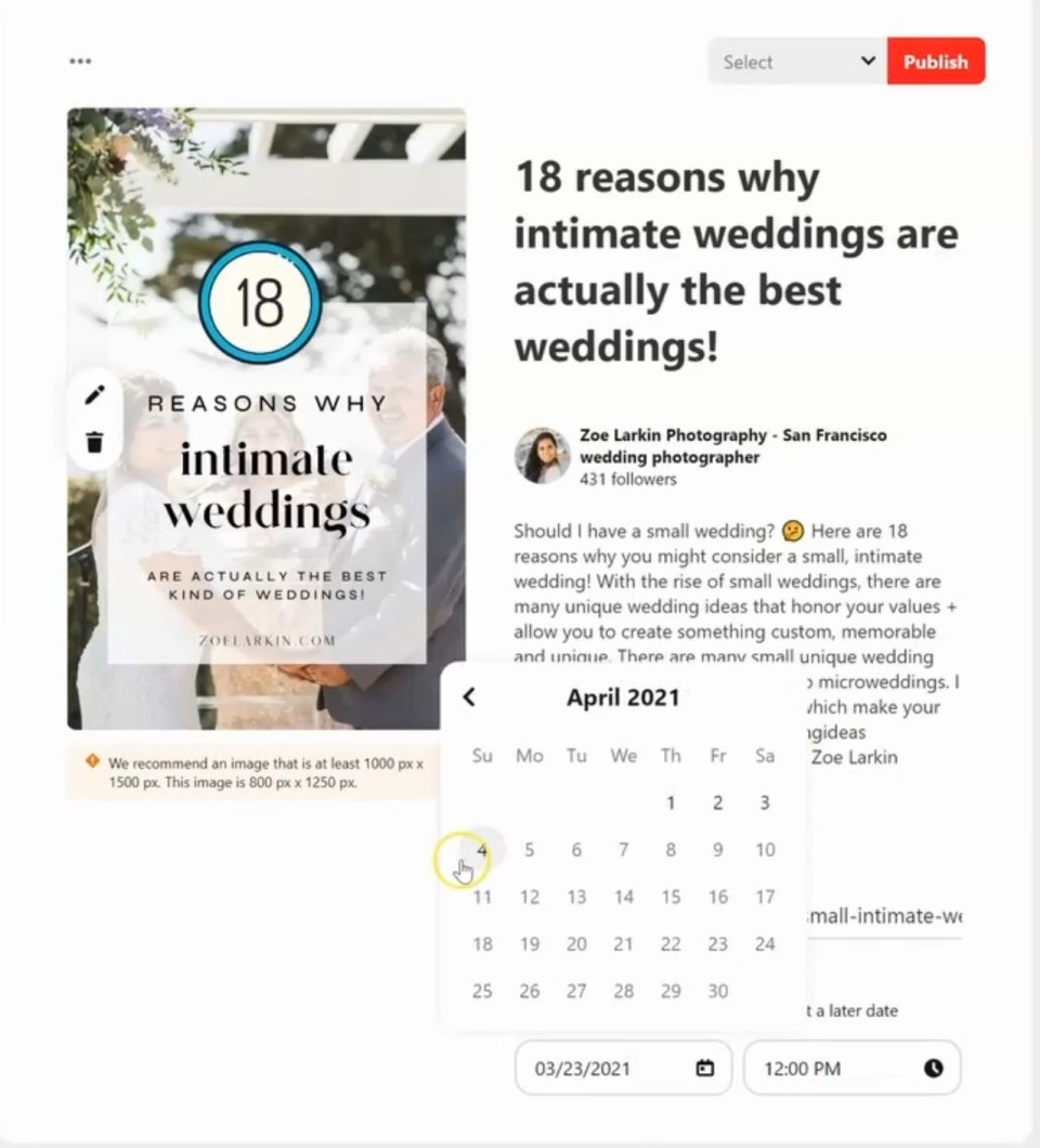 example of how to pick a date under Pinterest's own free scheduling feature