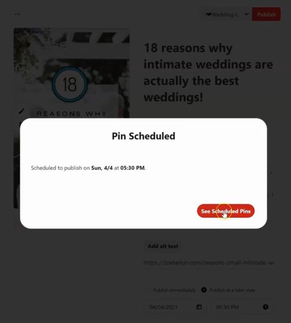screenshot from Pinterest native scheduler showing a pin has been scheduled