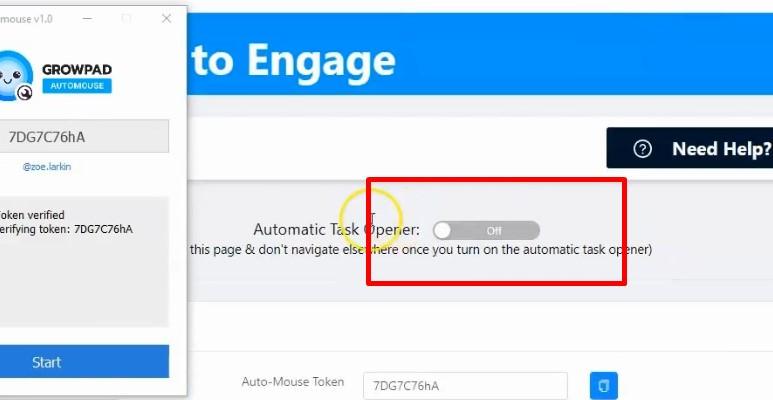 Turn on automatic task opener