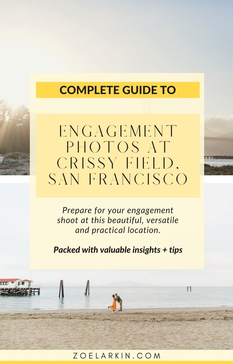 Looking for a San Francisco engagement photography location that TRULY has it all? Easily accessible, wide-ranging terrain and backdrops, combining beaches, unique architecture, flora & fauna together with epic views of the Golden Gate Bridge? Then Crissy Field is for you! Learn how to get the best out of your shoot so you don't miss a thing, and maximize your time with this helpful guide, including the exact route I use for my engagement shoots | #engagementphotography #sanfranciscoengagement