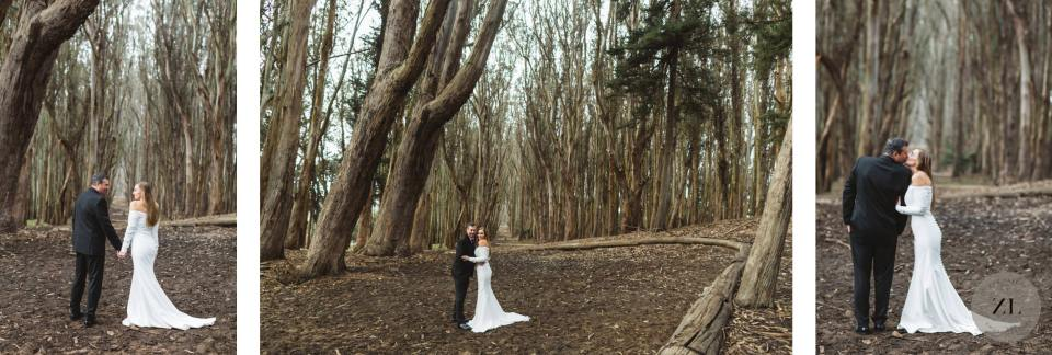 dark and moody wedding photos from the Wood Line art installation in San Francisco