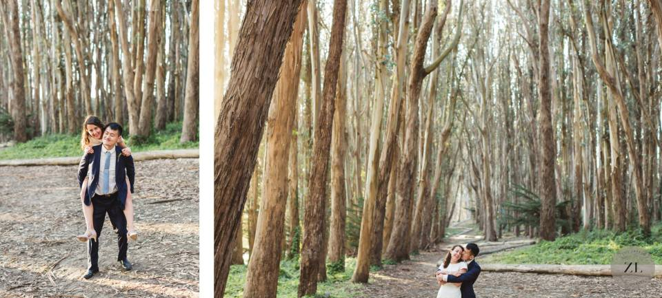 fun wedding photos from a pandemic elopement at the Wood Line in the presidio