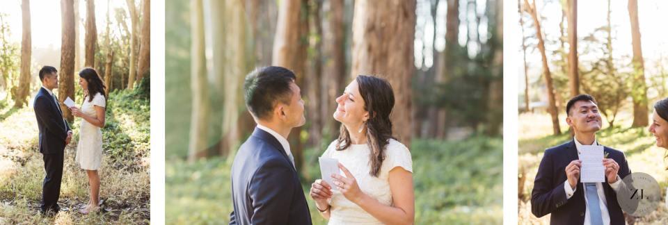 intimate guerilla wedding ceremony at Wood Line, Lovers Lane San Francisco