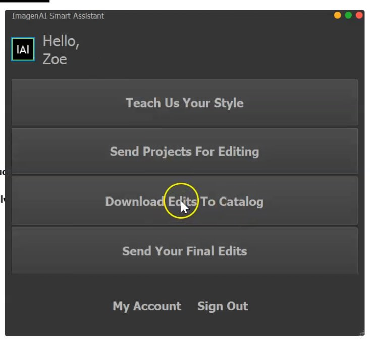 downloading edits to catalog with a Smart Lightroom assistant that combines AI with your own editing style