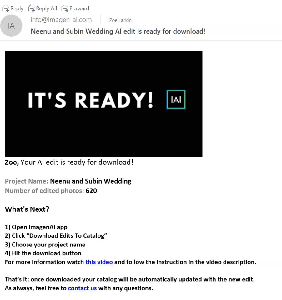 screenshot showing email received from Imagen-AI alerting you that your edited photos are ready to download to Lightroom catalog