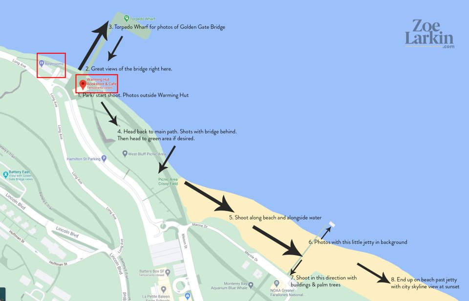 suggested route for engagement photography sessions at Crissy Field, beginning at the Warming Hut