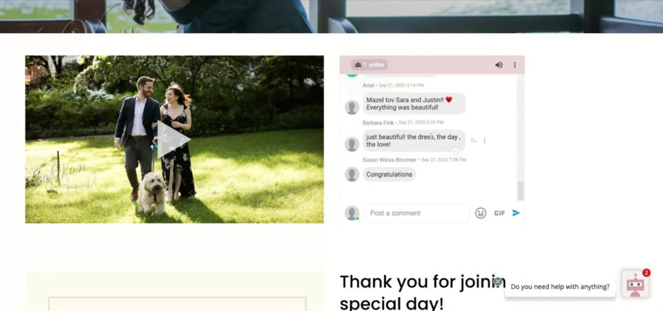 screenshot showing what the guest view looks like on Lovestream.io for wedding streaming