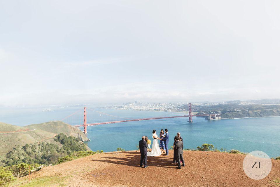 micro wedding in hawk hill overlooking the golden gate bridge