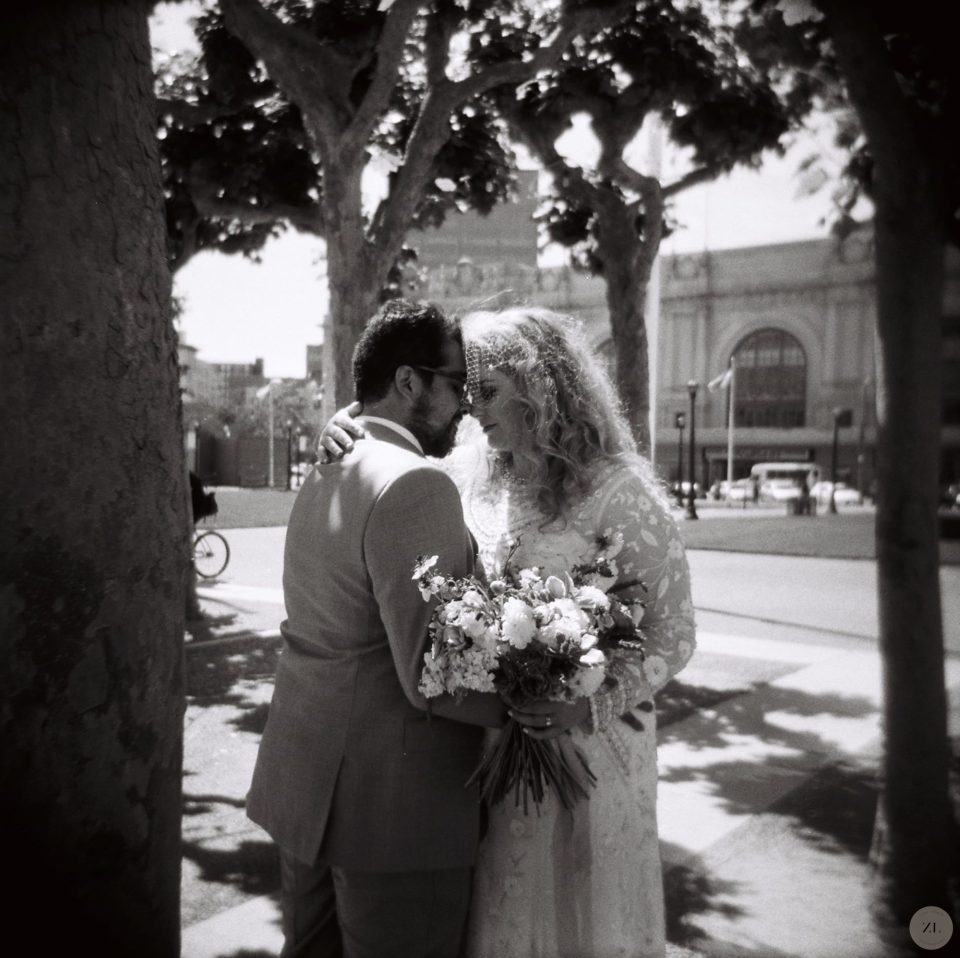 bride and groom on their wedding day in san francisco captured on Holga 120 black and white film by Zoe Larkin Photography