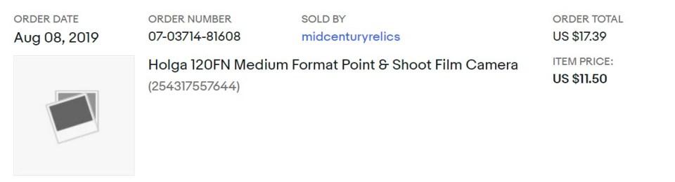 order of Holga 120FN bought on eBay for under $20