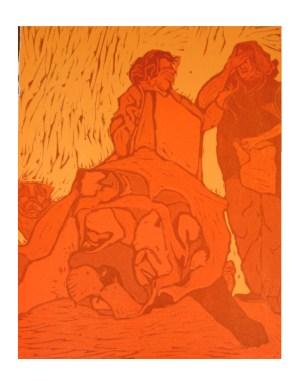 Pug Luv, woodcut 2009