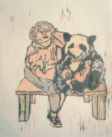 $100 Dollar Panda Hug, wood cut 2010