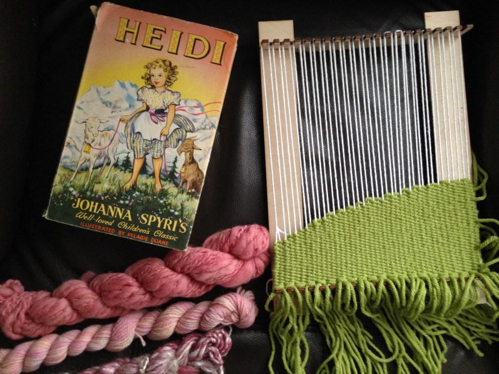 Literary wall hangings - book inspired weavings. Heidi, Alice in Wonderland handmade by Zoeprose