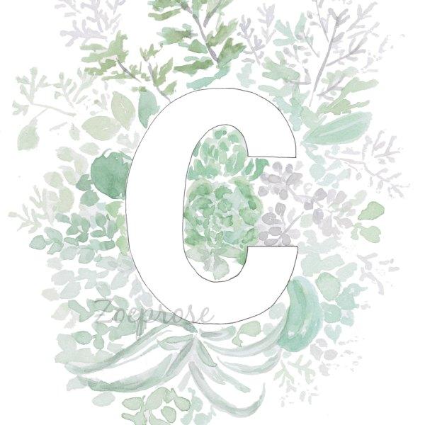 C floral alphabet print | Zoeprose