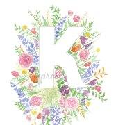 K Floral Alphabet Letter Print | Zoeprose