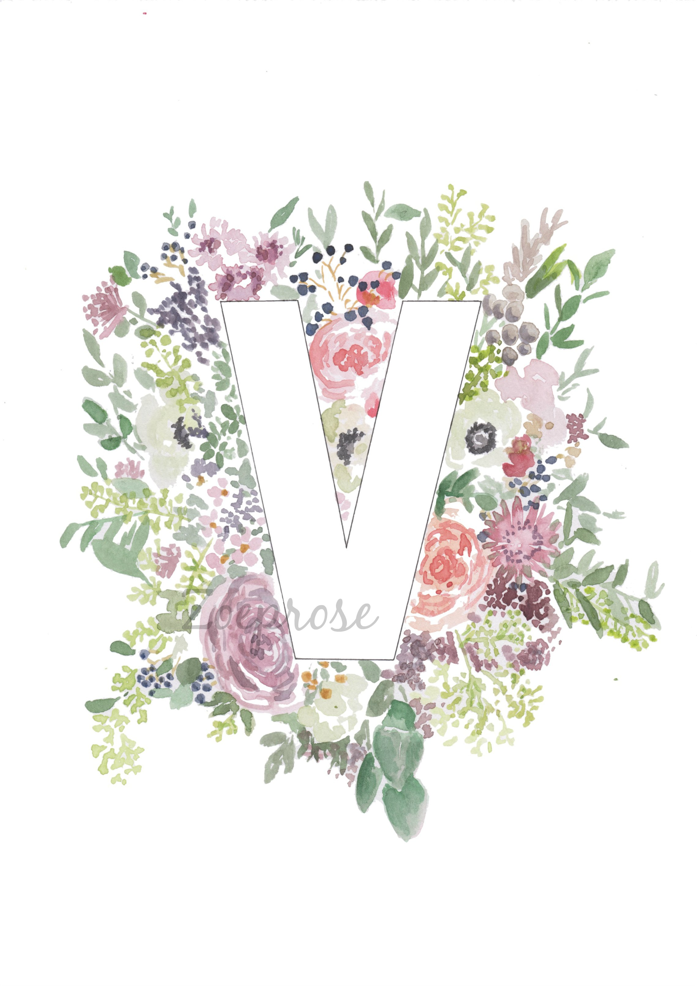 Floral alphabet print collection from zoeprose a4 garlands and v alphabet letter archival print altavistaventures Images
