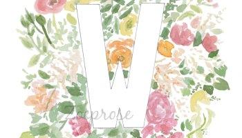 Z floral alphabet letter print archival Zoeprose shop