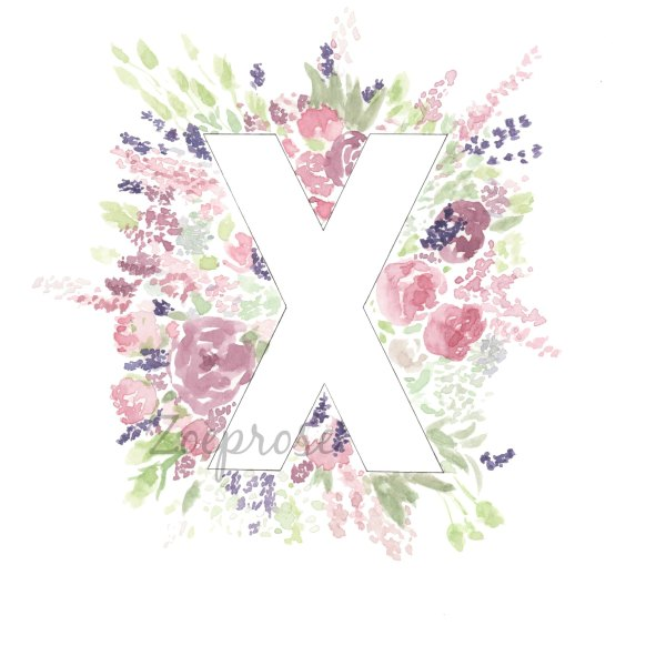 X floral alphabet print | Zoeprose