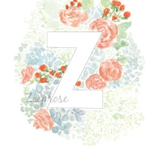 Z floral alphabet print | Zoeprose