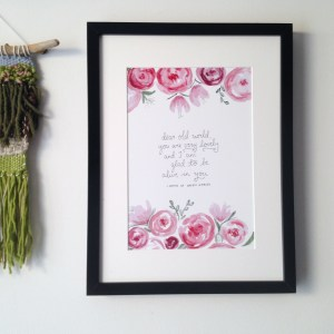 Anne of Green Gables lovely world quote | Remember the beauty of the world through Anne's optimistic eyes with a lovely handlettered print