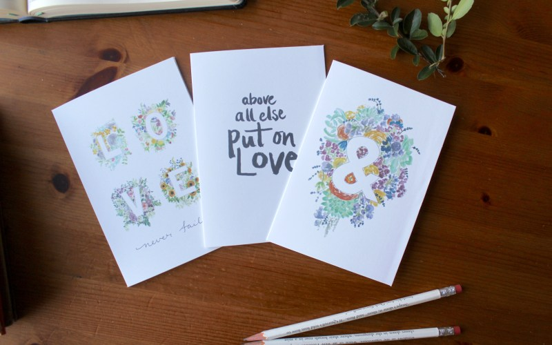 Set of 3 love cards