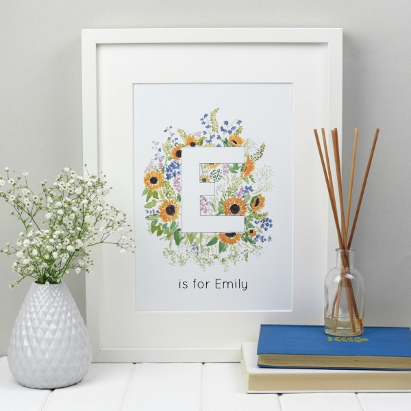 personalised floral alphabet wall art